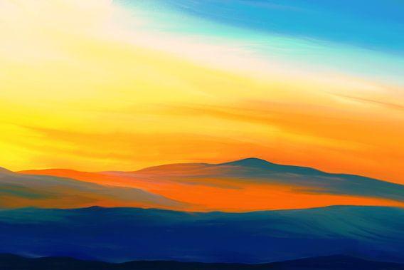 Expressief landschapsschilderij in geel en blauw