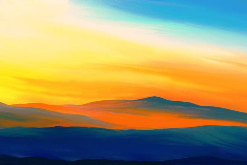 Expressief landschapsschilderij in geel en blauw van Tanja Udelhofen