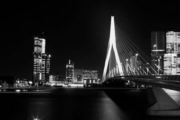 Erasmusbrug Rotterdam in zwart-wit van Dexter Reijsmeijer