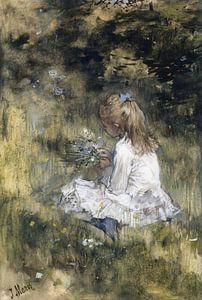 Ein Mädchen mit Blumen im Gras, Jacob Maris
