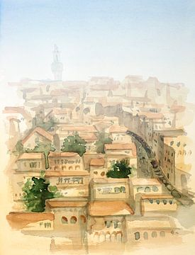 Uitzicht op de Toscaanse stad van Achim Prill
