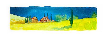 Toskanische Landschaft - Aquarell