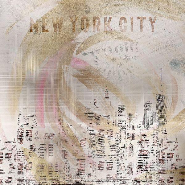 MODERN ART New York City Skylines | wit/goud van Melanie Viola