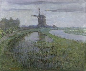Oostzijdse Mill along the River Gein by Moonlight, Piet Mondriaan sur