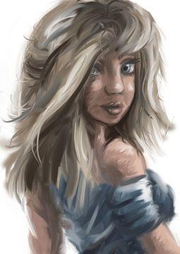 Ölgemälde Mädchen mit blonden Haaren und blauen Augen von Emiel de Lange