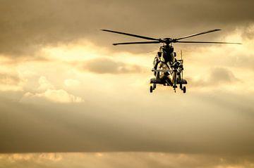 Een Cougar transporthelikopter in de avondzon boven Brabant van Floris Oosterveld