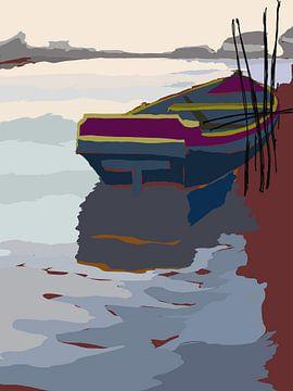 2015 art 9 vissersboot bij brug  Leeuwarden-Drachten van jan kamps
