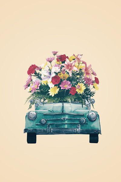 Retro car with flowers von Dreamy Faces