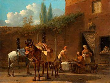 Muilezeldrijvers bij een herberg, Karel du Jardin