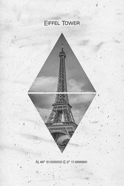 Coördinaten van PARIJS eiffeltoren van Melanie Viola