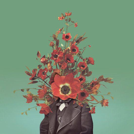 Zelfportret met bloemen 4 (groene achtergrond)