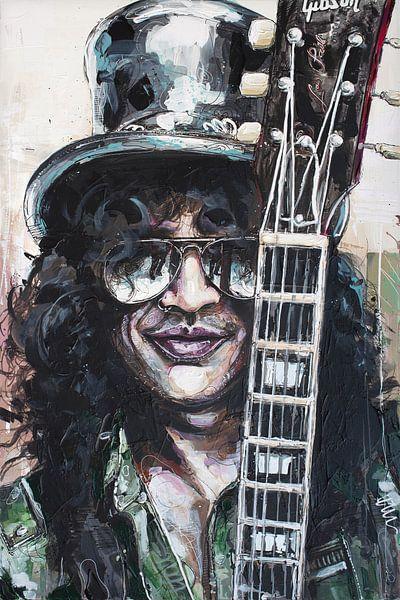 Slash (Guns N' Roses) schilderij van Jos Hoppenbrouwers
