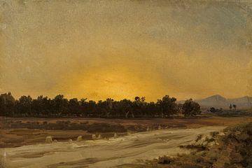 Carlos de Haes~Landstraßenlandschaft in der Abenddämmerung, Antike Landschaft