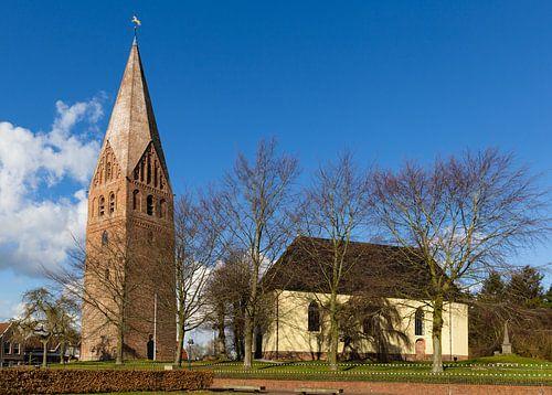 Hervormde kerk met vrijstaande toren in Schildwolde van