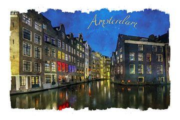 Aquarel Amsterdam van Peter Bolman