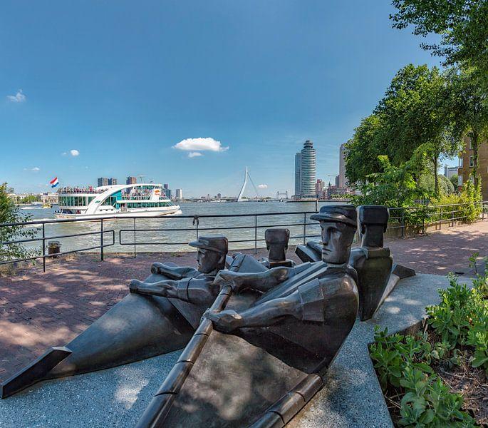 De Roeiers van beeldhouwer Yair Aschkenasy, Rotterdam, Zuid-Holland, Nederland van Rene van der Meer