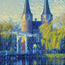 Schilderij Oostpoort Delft in stijl Van Gogh van Slimme Kunst.nl