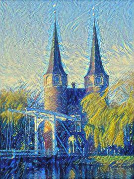 Oostpoort Delft im Van-Gogh-Stil von Slimme Kunst.nl