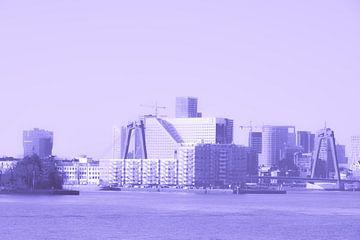 Rotterdam - Willemsbrug en omgeving - in lila-paars tinten van Ineke Duijzer