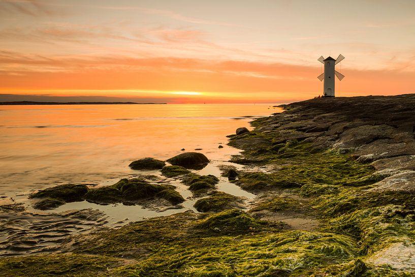 Le phare du moulin (Usedom) au coucher du soleil sur Frank Herrmann