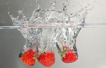 Three strawberries splash van Focco van Eek