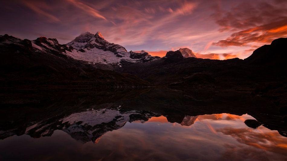 Zonsondergang Cordillera Blanca Peru