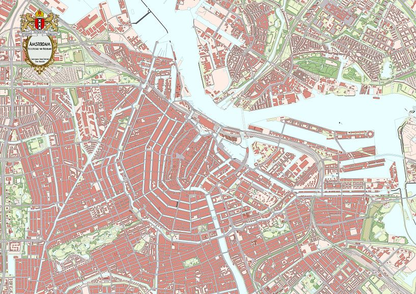 Kaart van binnenstad Amsterdam van Rebel Ontwerp
