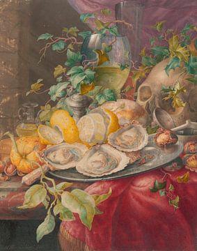 Vanitas-Stilleben mit Austern und Schädel, Herman Henstenburgh