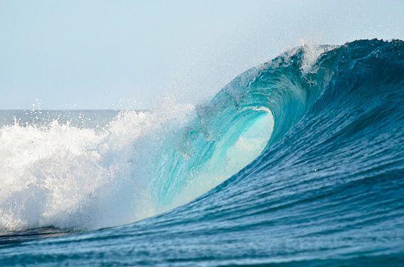 Het oog van een perfecte golf om te surfen in de Grote Oceaan