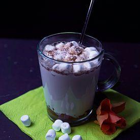 Heißer Kakao mit Schokoladenlikör-Kokosnuss-Whisky und Schaumzuckerkugeln im Glas von Babetts Bildergalerie