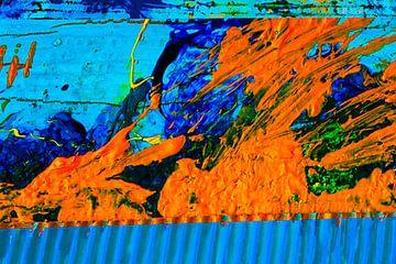 Abstracte muurschildering in blauw en geel van Klaus Heidecker