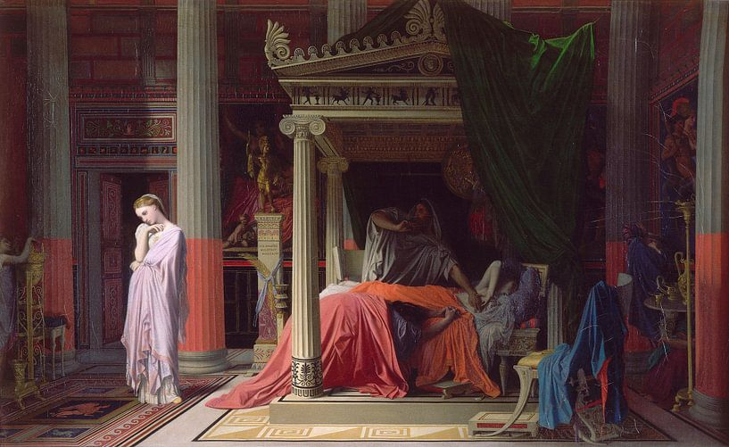 Die Krankheit von Antiochus, oder Antiochus und Stratonice, Jean Auguste Dominique Ingres von Meesterlijcke Meesters
