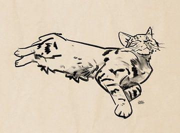 'Boefie' tekening kat van Pieter Hogenbirk