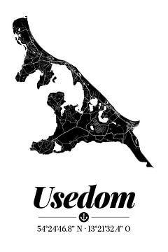 Usedom | Landkarten-Design | Insel Silhouette | Schwarz-Weiß von ViaMapia