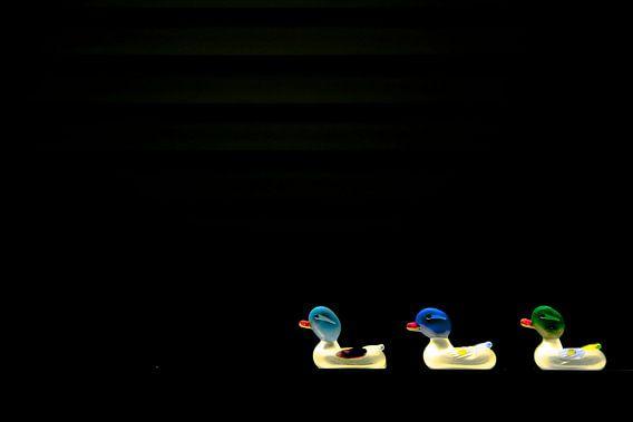 Drie glazen eendjes