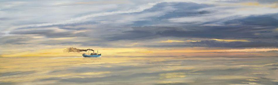 Oud vrachtschip varend aan de horizon van Jan Brons