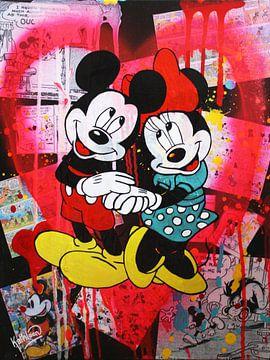 "Mickey en Minnie Mouse ""Roze Hart"" van Kathleen Artist Fine Art"