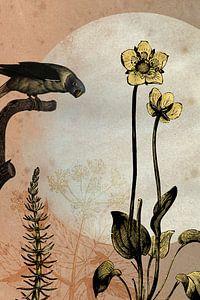 Papagei und Butterblumen