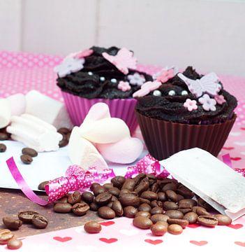 chocolade cupcakes met koffiebonen van