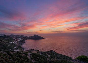 Sardinië, zonsondergang  bij Castelsardo van Annie Jakobs