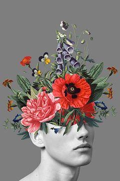 Zelfportret met bloemen 5 (grijs staand) sur toon joosen