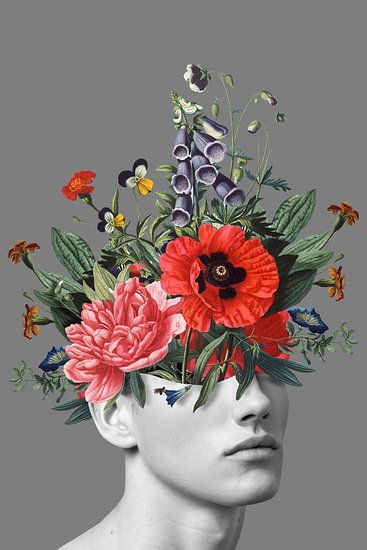 Zelfportret met bloemen 5 (grijs staand)