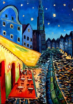 Landshut Bayern Van Gogh Style Night Cafe - Anpassbar von Markus Bleichner