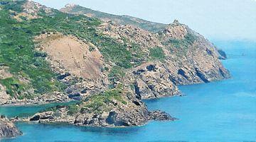 Landschap-  Kustlijn tussen Alghero en Bosa in Sardinië - Schilderij van Schildersatelier van der Ven