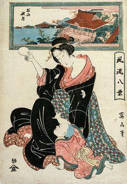 Kikugawa Eizan.Herbstmond im Tempel