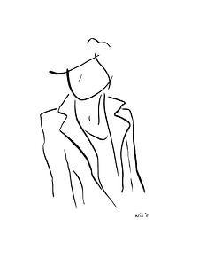 Inkt tekening vrouw staand