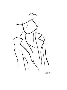 Inkt tekening vrouw staand van