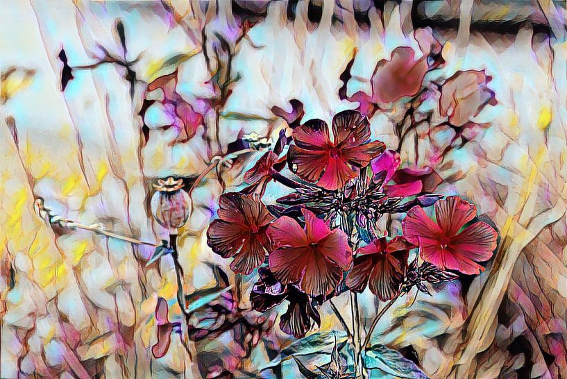 Rote Blumen Ölmalerei von Patricia Piotrak