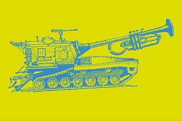 Trumpet Tank - geel/blauw van Rembrandt Ross