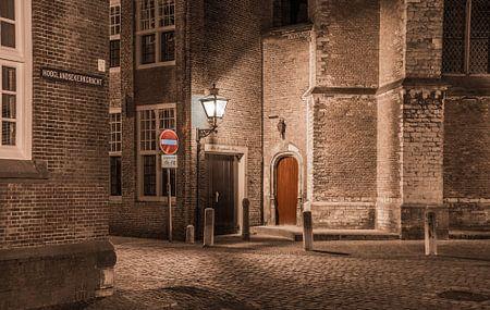 Achterkant van de Hooglandse kerk in Leiden